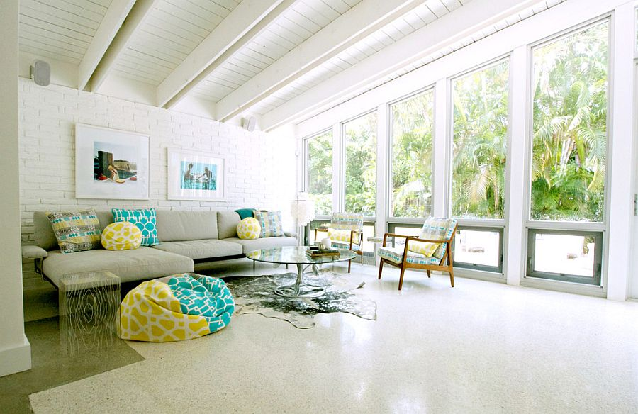 Breezy beach style living room with a hint of color [Photography: Mina Brinkey]