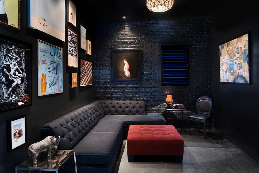 Brick wall living room idea for those who love a dark, black setting [Design: Cablik Enterprises]