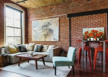 Bright and beautiful industrial loft living room