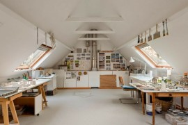 Bright and spacious attic converted to an art studio  15 Bright Attic Spaces for an Office or Studio Bright and spacious attic converted to an art studio