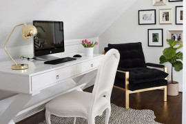 Bright and white attic office space with bold accents  15 Bright Attic Spaces for an Office or Studio Bright and white attic office space with bold accents
