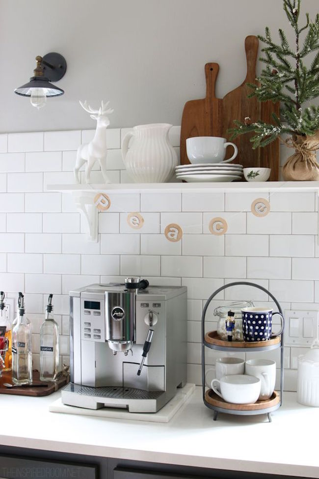 Bright coffee station with holiday decor