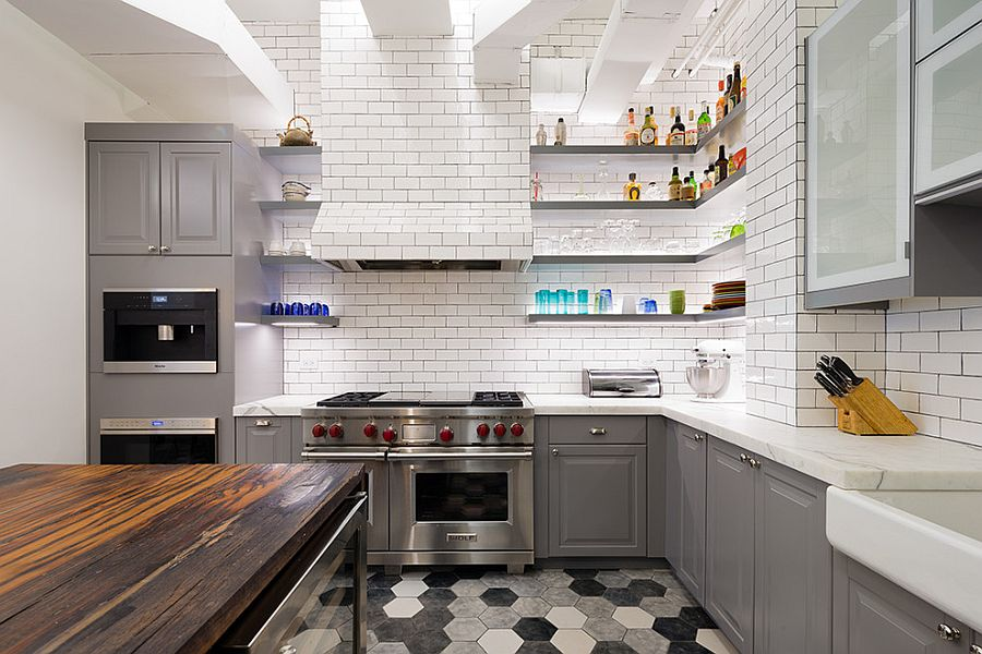 ... Brilliant Lighting And Hexagonal Floor Tiles Make A Big Impact In This  Industrial Kitchen [Design