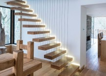 Brilliant staircase with Solid American White Oak steps and steel supporting wires