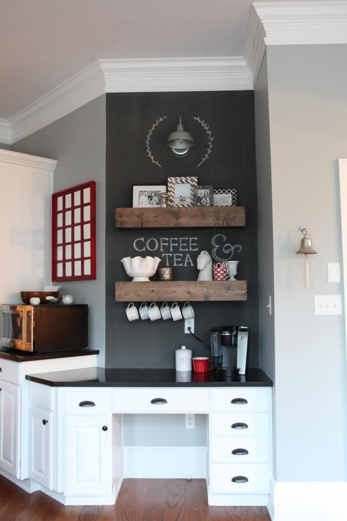 Built-in kitchen desk transformed into a coffee station