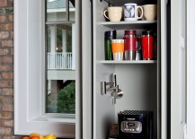 Cabinet area transformed into a tiny coffee station 217x155 20 Charming Coffee Stations to Wake Up to Every Morning
