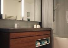 Cascade Coil luxury shower curtain in a modern bathroom