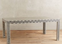 Chevron- and zigzag-patterned table from Anthropologie