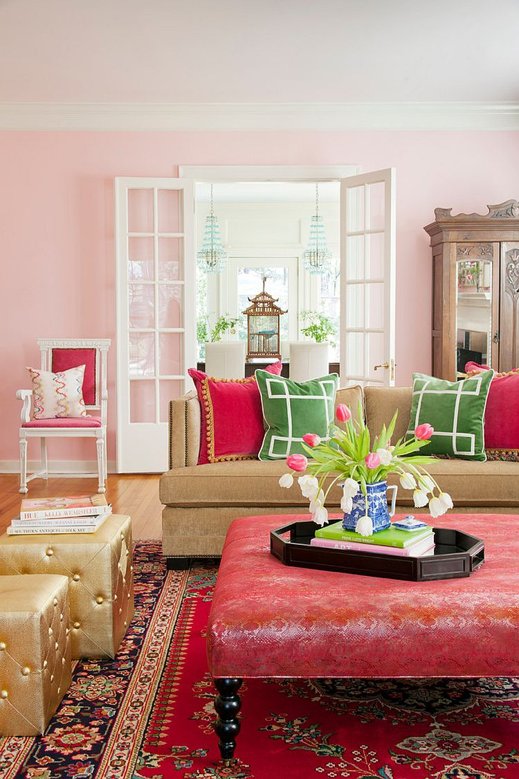 Chic living room walls draped in Bella Pink [Design: Andrea Brooks Interiors]