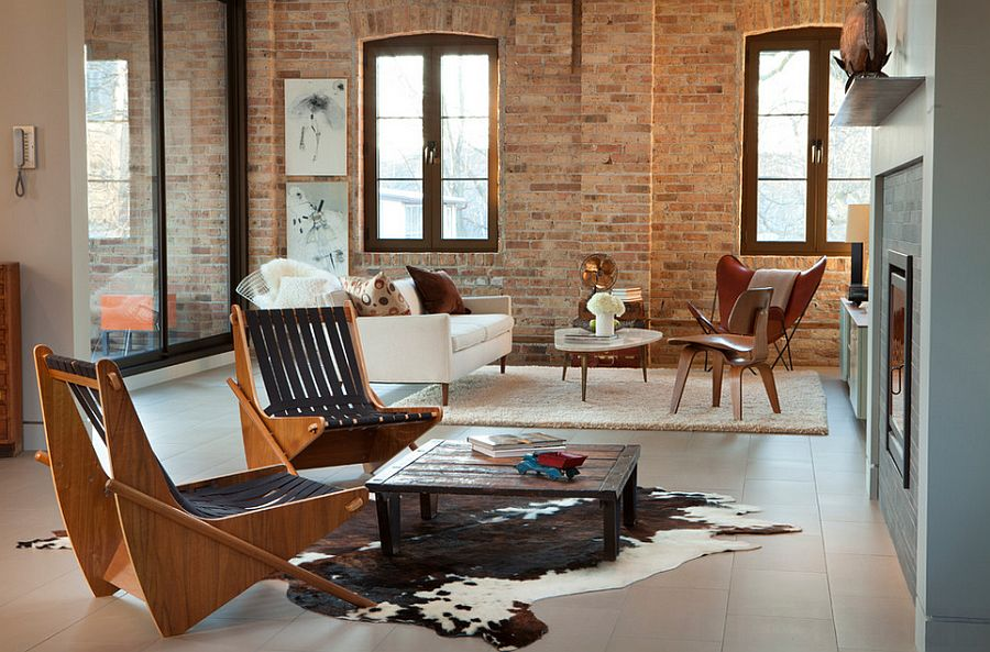 Chicago living room combines industrial touches with modern style [Design: MRSA Architects & Planners]