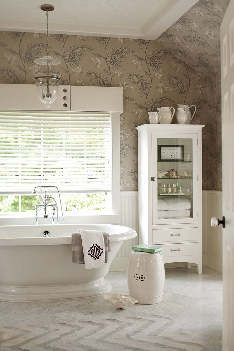 Transitional Bathrooms little luxury: 30 bathrooms that delight with a side table for the