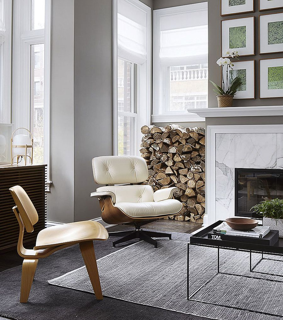 Classic Eames Lounger and Midcentury decor bring class to the living room