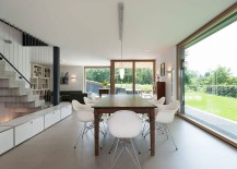 Classic Eames chairs at the dining table in wood