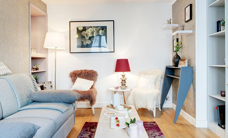 Classic Parisian style combined with shabby chic allure inside the tiny living room [Design: Nuts & Architects]