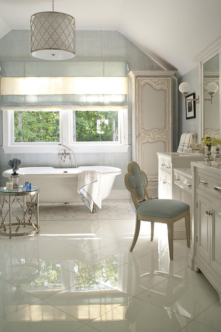 Classic side table accentuates the traditional appeal of the bathroom [Design: Susanne Kelley Design]