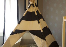 Classic teepee made with sticks and striped fabric 217x155 15 Whimsical Teepee Reading Nooks for Kids