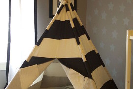 Classic teepee made with sticks and striped fabric 15 Whimsical Teepee Reading Nooks for Kids 15 Whimsical Teepee Reading Nooks for Kids Classic teepee made with sticks and striped fabric