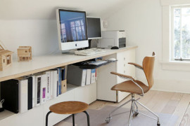 Clean and simple attic office  15 Bright Attic Spaces for an Office or Studio Clean and simple attic office 270x180