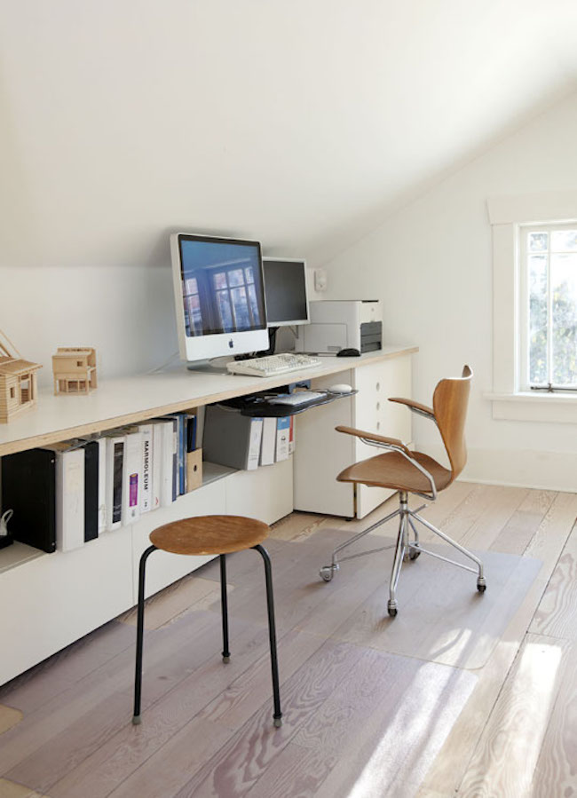 Clean and simple attic office  15 Bright Attic Spaces for an Office or Studio Clean and simple attic office