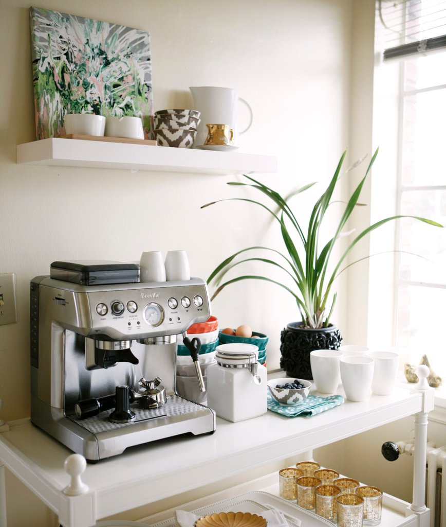 Clean and white coffee station