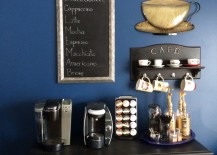 Coffee station with dark colors and chalkboard