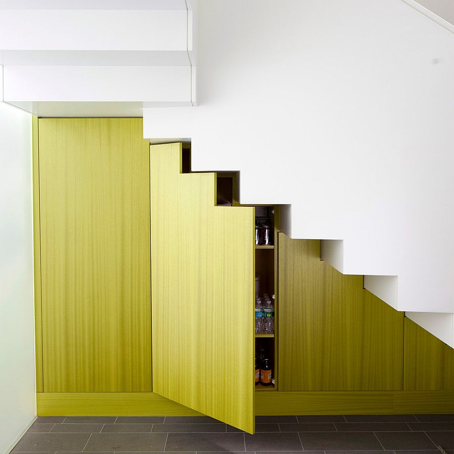 Color and creativity enliven the staircase in white [Design: Billinkoff Architecture]
