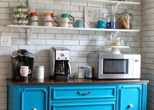 Colorful coffee station with gorgeous blue dresser 217x155 20 Charming Coffee Stations to Wake Up to Every Morning