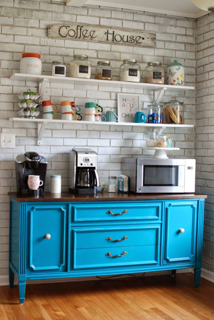 Colorful coffee station with gorgeous blue dresser