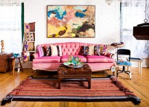Colorful couch in pink and lovely wall art for the shabby chic living space 217x155 50 Resourceful and Classy Shabby Chic Living Rooms