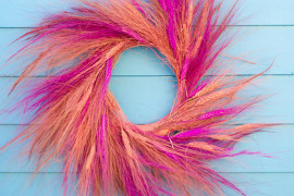Colorful wheat wreath from A Subtle Revelry  From Halloween to Thanksgiving Dinner: Your Fall Holiday Checklist Colorful wheat wreath from A Subtle Revelry