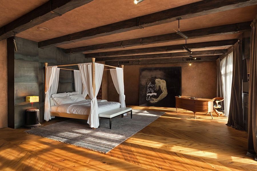 Comfy bedroom with earthen hues and timeless Italian charm
