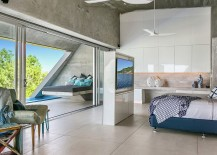 Contemporary bedroom with television wall and Ocean Views