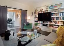 Contemporary-family-room-with-sliding-barn-doors-in-gray-217x155