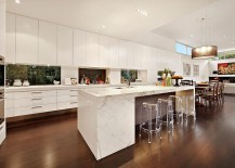 Contemporary kitchen in white with smart lighting