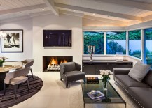 Contemporary living room with gas fireplace and fire pit balls 217x155 Butterfly Beach Villa: 50s Ranch Style Home Goes Midcentury Modern with Flair