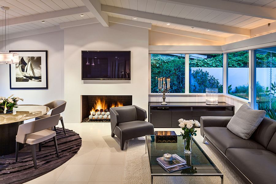 Contemporary living room with gas fireplace and fire pit balls