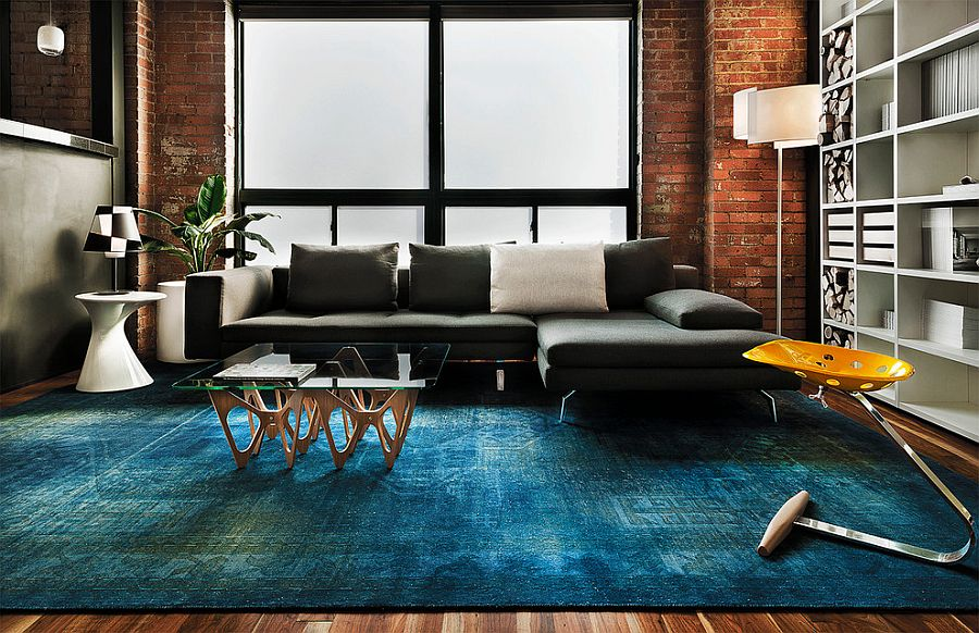 ... Contemporary Living Space With Rug In Copper Blue And Plush Sofa In  Dark Gray [From