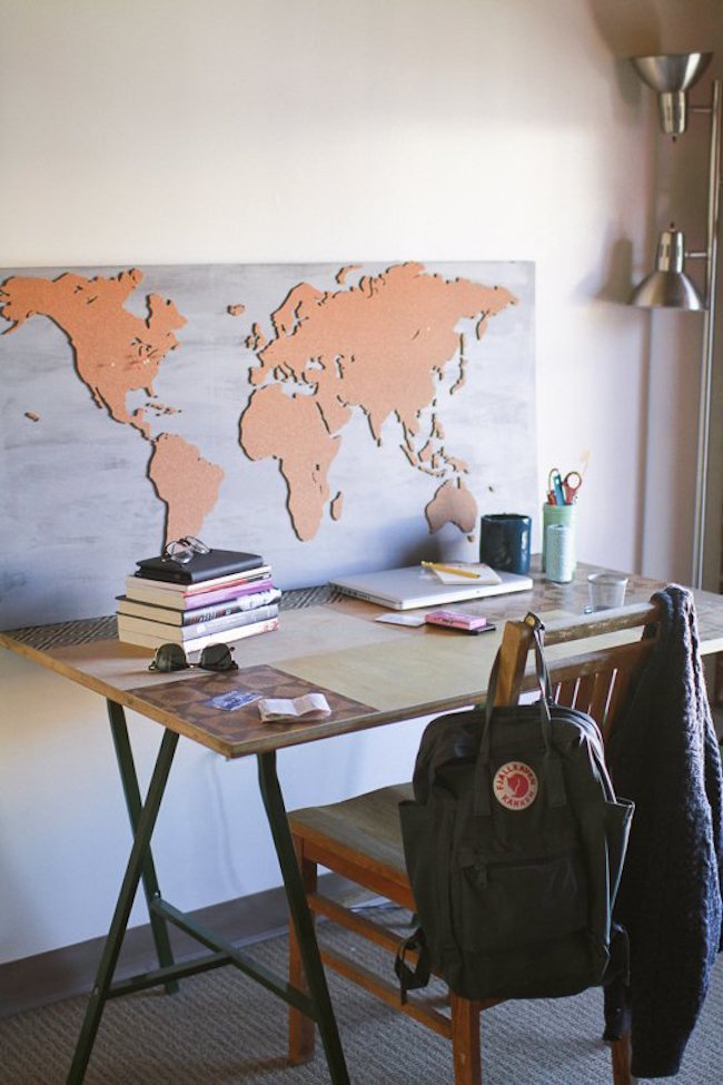 8 diy projects to dress up your cork boards cork board cut into a world map gumiabroncs Images