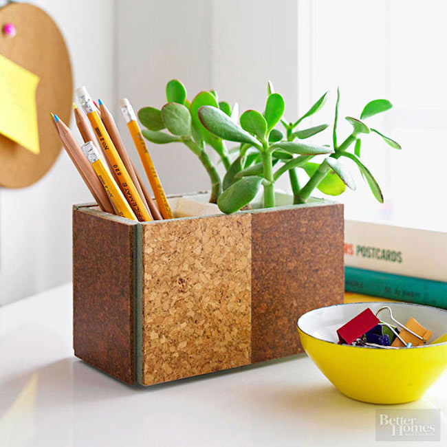 Cork board repurposed as a pencil holder
