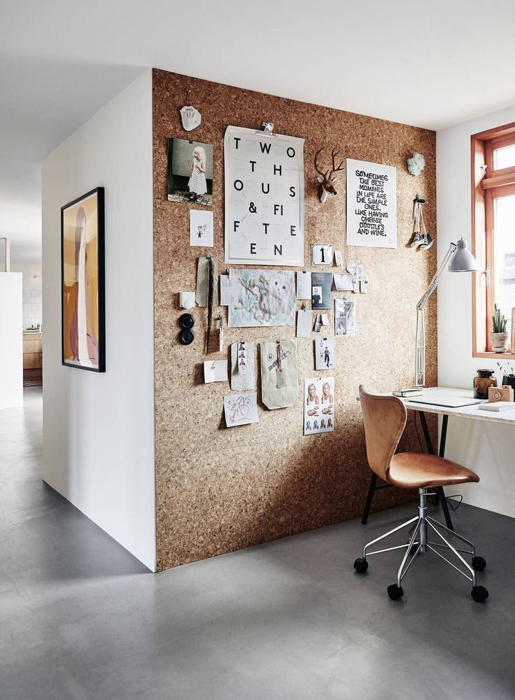 Cork board wall in an office area