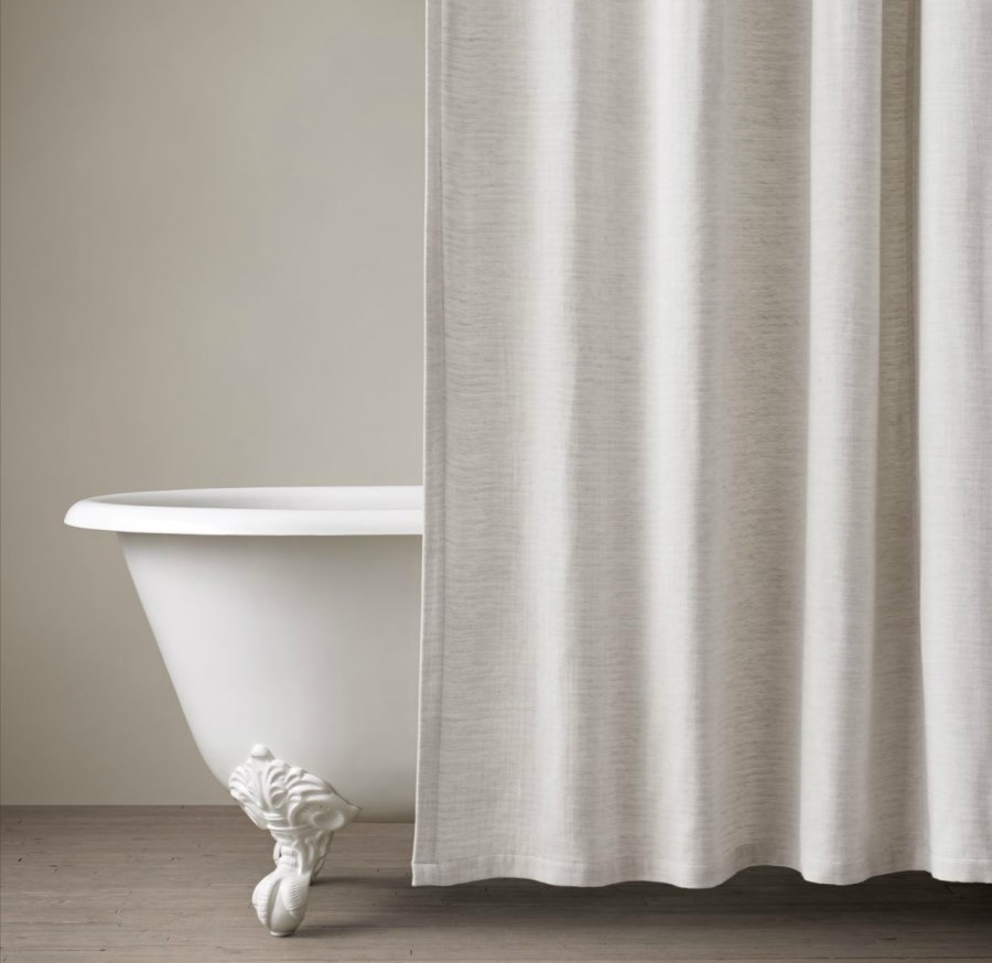 White fabric shower curtain - View In Gallery Cotton Linen Shower Curtain From Restoration Hardware