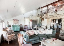Cozy living room with slanted roof and vintage decor