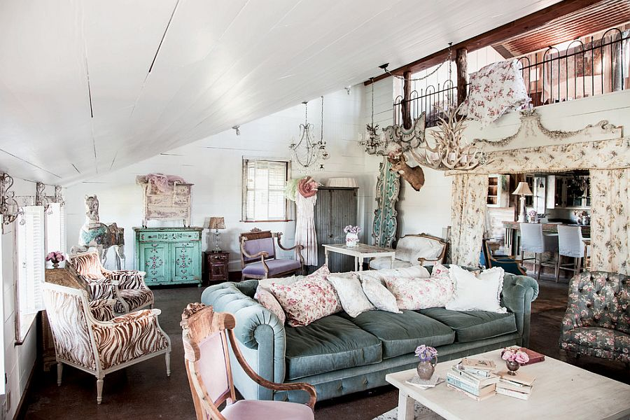Elegant View In Gallery Cozy Living Room With Slanted Roof And Vintage Décor  [Photography: Amy Neunsinger]
