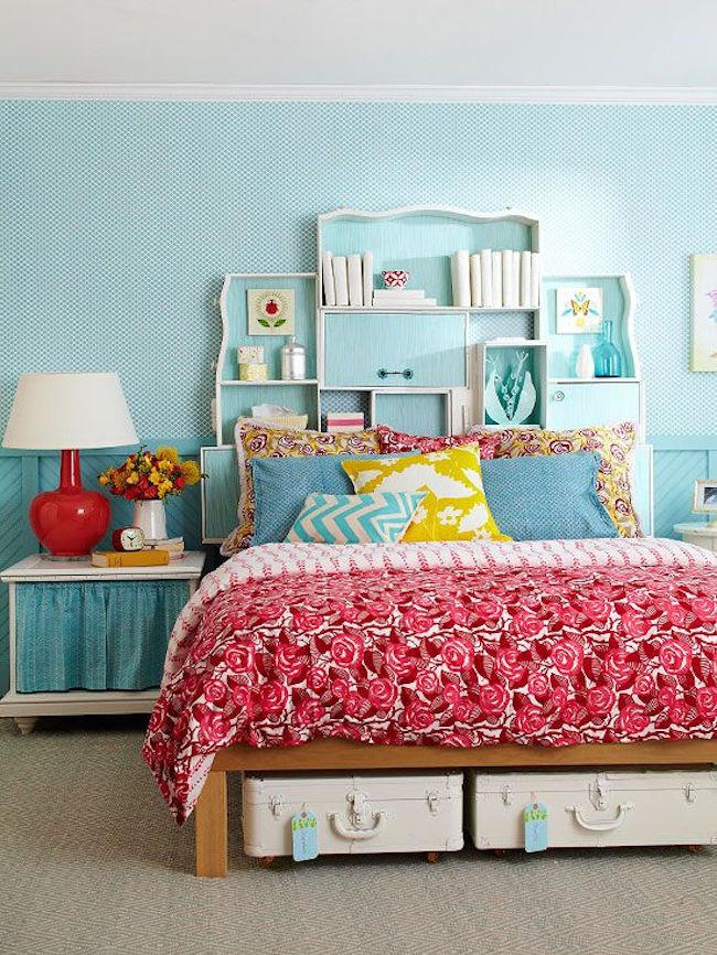 View in gallery Creative headboard with open shelving areas