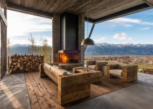 Custom-made furniture and fireplace for the awesome rustic deck