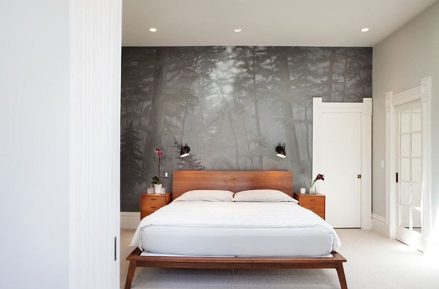 Custom wall mural creates a sense of harmony in the contemporary bedroom