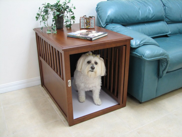 Cute and simple wooden dog crate that doubles as a side table