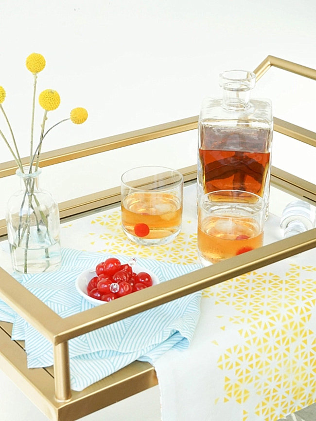 DIY bar cart runner from Sugar & Cloth  From Halloween to Thanksgiving Dinner: Your Fall Holiday Checklist DIY bar cart runner from Sugar Cloth