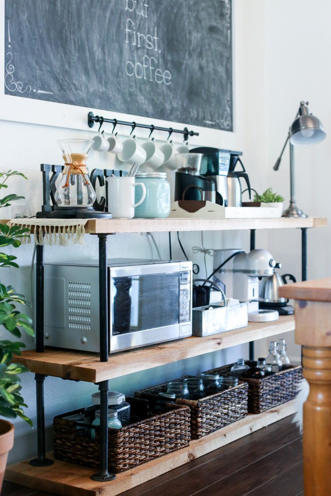 DIY black pipe coffee bar/station