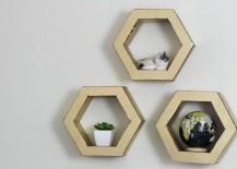 DIY hexagon shelves from HGTV